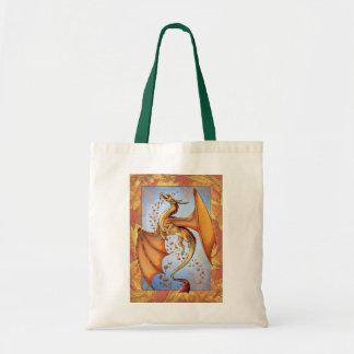 Dragón anaranjado del arte de la fantasía de la bolsa tela barata