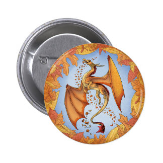 Dragón anaranjado del arte de la fantasía de la pin redondo de 2 pulgadas