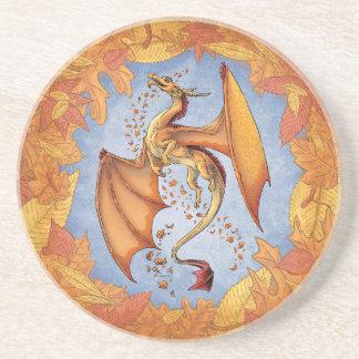 Dragón anaranjado del arte de la fantasía de la posavasos cerveza