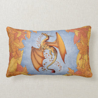 Dragón anaranjado del arte de la fantasía del cojín
