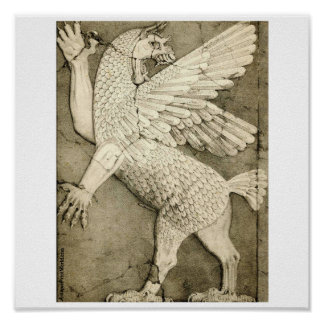 Dragon Ancient Assyrian Winged Figure Poster