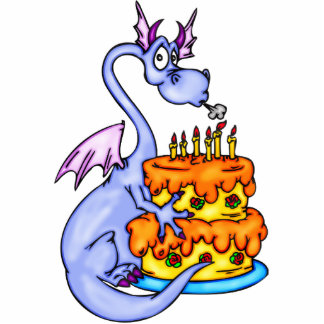 Dragon and Birthday Cake Acrylic Cut Outs