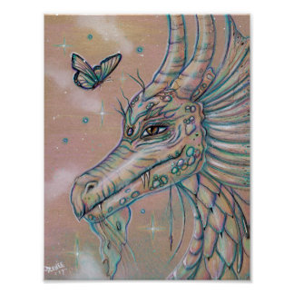 Dragon and butterfly fantasy art poster by Renee