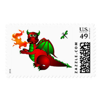 Dragon and Dragonfly Postage Stamp