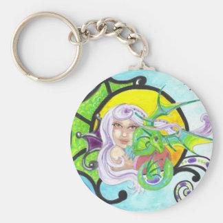 Dragon and Fairy Nymph fantasy art keychain