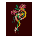 Dragon and Flower Tattoo Post Card