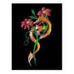 Dragon and Flower Tattoo Postcard