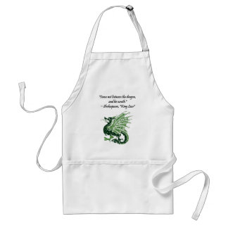 Dragon and His Wrath Shakespeare King Lear Cartoon Aprons
