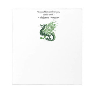 Dragon and His Wrath Shakespeare King Lear Cartoon Notepad