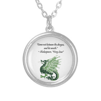 Dragon and His Wrath Shakespeare King Lear Cartoon Silver Plated Necklace