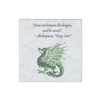 Dragon and His Wrath Shakespeare King Lear Cartoon Stone Magnet