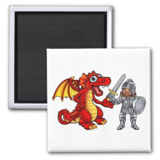 Dragon and Knight Cartoon Characters Magnet