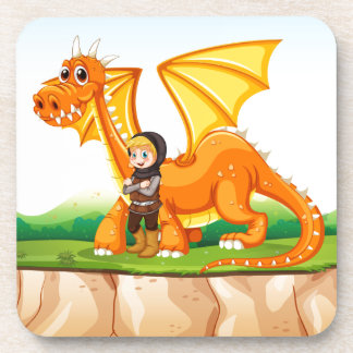 Dragon and knight drink coaster