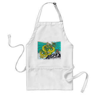 dragon and knight fight adult apron