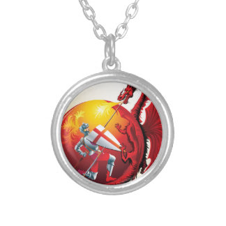 Dragon and Knight Round Pendant Necklace