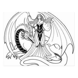 Dragon and Lady illustration Postcard