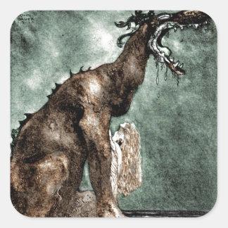 Dragon and Mermaid Square Sticker