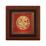 Dragon and Phoenix  Emblem Red Trinket Boxes