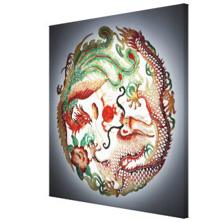 Dragon and phoenix stencil canvas print