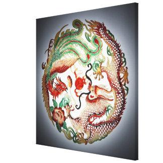 Dragon and phoenix stencil canvas print