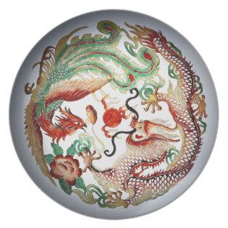Dragon and Phoenix Stencil Melamine Plate