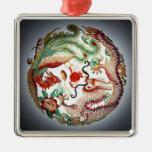 Dragon and phoenix stencil metal ornament