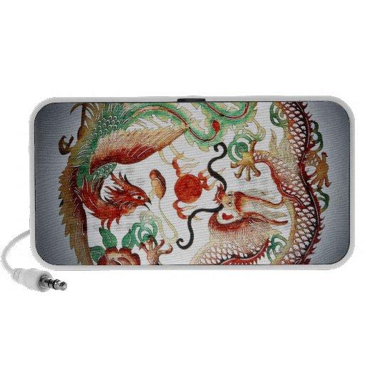 Dragon and phoenix stencil portable speaker