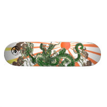 Dragon and Rising Sun Skateboard Deck