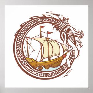 Dragon and Ship Posters