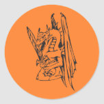 Dragon and Sword Round Stickers