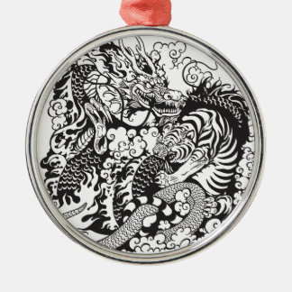 dragon and tiger fighting metal ornament