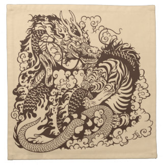 dragon and tiger fighting napkin