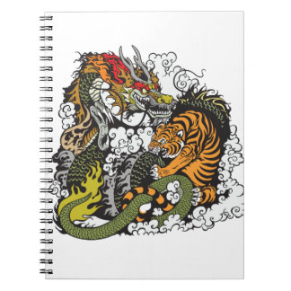 dragon and tiger fighting spiral notebooks