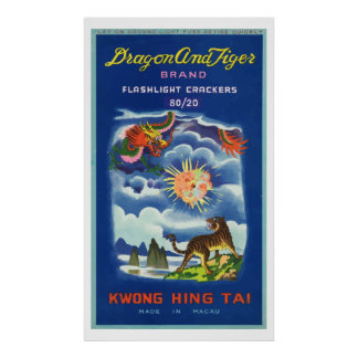 Dragon and Tiger Vintage Chinese Firecracker Print