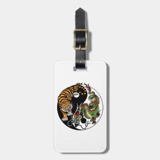 dragon and tiger yin yang symbol bag tag