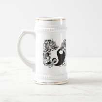 dragon and tiger yin yang symbol beer stein