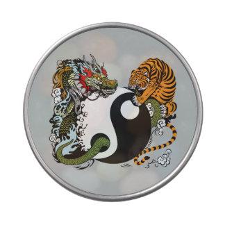 dragon and tiger yin yang symbol candy tins