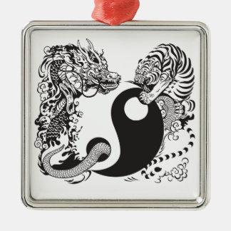 dragon and tiger yin yang symbol metal ornament