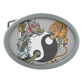 dragon and tiger yin yang symbol oval belt buckle
