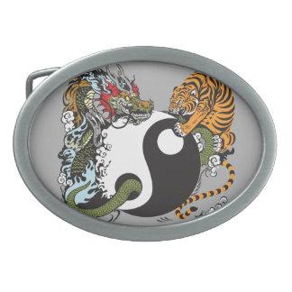 dragon and tiger yin yang symbol oval belt buckle
