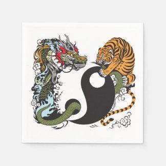 dragon and tiger yin yang symbol paper napkin