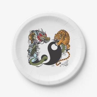 dragon and tiger yin yang symbol paper plate