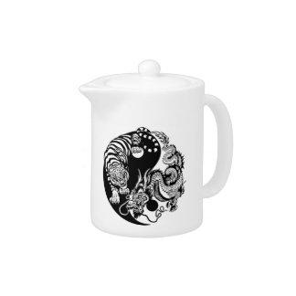 dragon and tiger yin yang symbol teapot