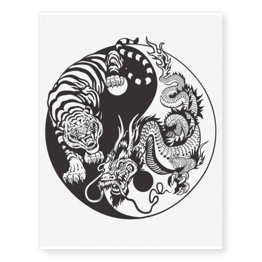 Dragon And Tiger Yin Yang Symbol Temporary Tattoos Zazzle Com