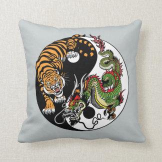 dragon and tiger yin yang symbol throw pillow