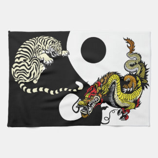 dragon and tiger yin yang symbol towel