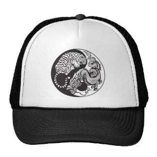 dragon and tiger yin yang symbol trucker hat