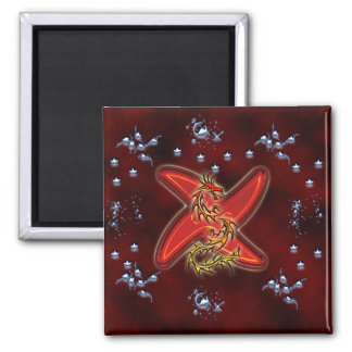 Dragon and wading first acre 2 inch square magnet