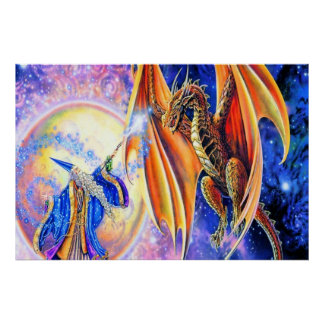 Dragon and Wizard Poster