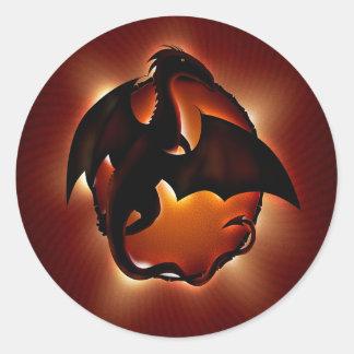 dragón animal abstracto storm.jpg pegatina redonda